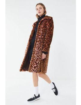 Avec Les Filles Leopard Print Faux Fur Car Coat by Avec Les Filles