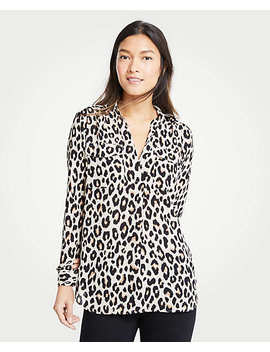 Leopard Print Camp Shirt by Ann Taylor