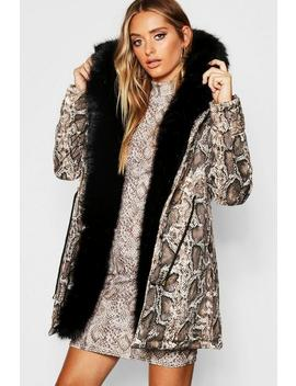 Premium Snake Print Parka With Faux Fur Trim by Boohoo