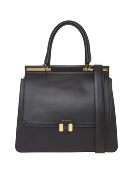 "Black Leather 13"" Laptop Bag by Maison Heroine"