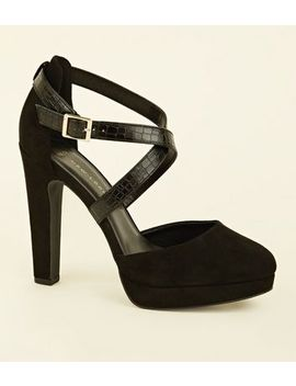 Wide Fit Black Faux Snake Cross Strap Platforms by New Look