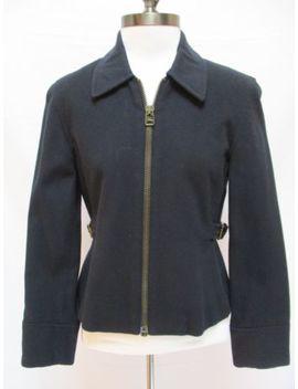 Banana Republic Navy Blue Long Sleeve Zip Front Wool Blend Jacket Coat Blazer Xs by Banana Republic