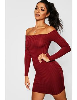 Ribbed Low Scoop Neckline Bodycon Dress by Boohoo