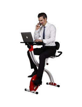 Loctek Foldable Upright Cycling Desk Exercise Bike With Laptop Table, Red by Loctek