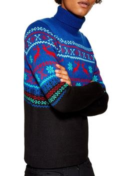 Reindeer Fair Isle Turtleneck Sweater by Topman