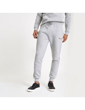 Grey Muscle Fit Embroidered Joggers by River Island