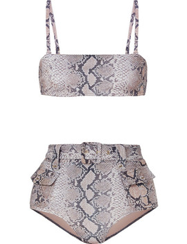 Corsage Safari Snake Print Belted Bikini by Zimmermann