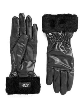 Shearling Cuffed Leather Tech Gloves by Ugg Australia