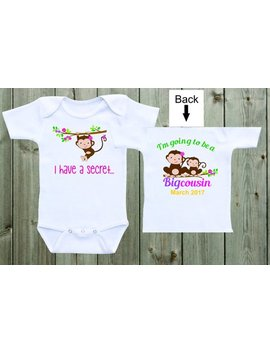 I Have A Secret I'm Going To Be A Big Cousin Baby Onesie Pregnancy Announcement Onesie Pregnancy Reveal Onesie Baby Announcement by Etsy