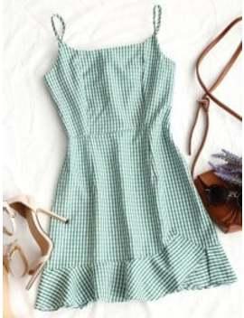 Back Zip Checked Ruffles Mini Dress   Green Xl by Zaful