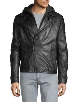 Hooded Leather Moto Jacket by Rogue