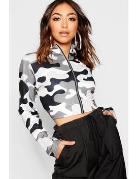 Camo Funnel Neck Bomber by Boohoo