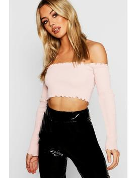 Petite Lettuce Hem Knitted Crop Top by Boohoo