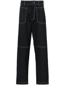Topstitched Pocket Wool Blend Trousers by Comme Des Garçons Homme Plus