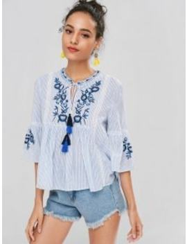 Striped Flare Sleeve Embroidered Blouse   Light Blue M by Zaful