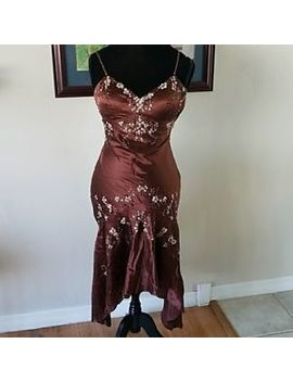 Eci New York Womens Dress Brown Beaded Silk Cocktail 2 Evening Asymmetric Hem by Eci