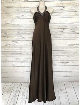 Cache Beaded Halter Prom Long Dress Evening Brown Sz 2 Halter Back Gown Silk by Caché