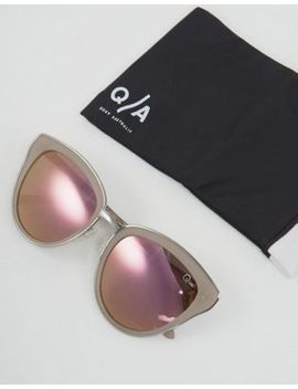 Quay Australia   Every Little Thing   Cat Eye Zonnebril In Zilver/Roze by Asos