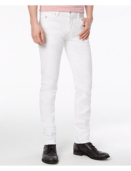 Men's Slim Tapered Fit Stretch White Jeans by Guess