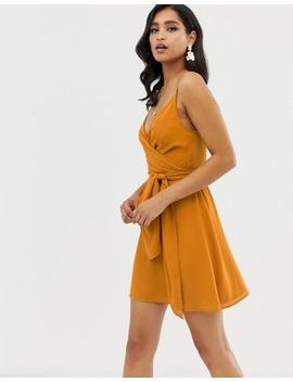 Asos Design Cami Wrap Mini Dress With Tie Waist by Asos Design