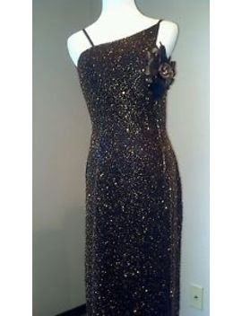 Scala Backless Brown Beaded Silk Formal Dress Feathers  M Celebrity Costume by Scala