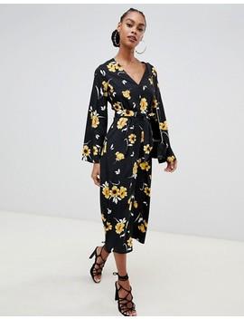 Boohoo Wide Leg Jumpsuit In Black Floral by Boohoo