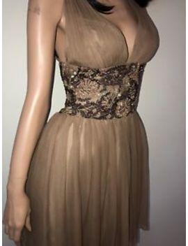 💕 Scala Caramel Silk Sequin Beaded Marilyn Monroe 100 Percents Silk Cocktail Dress by Scala