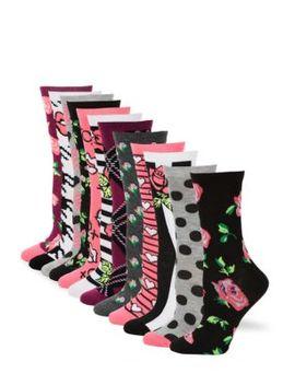 12 Pack Multi Pattern Crew Sock Gift Set by Betsey Johnson