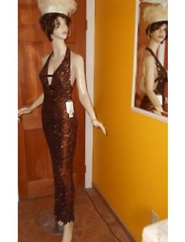 Scala Formal Halter Beaded Sequin Silk Evening Gown Prom Pageant Dress  Xs Nwt by Scala