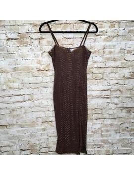 A J Bari Women's Size 2 Brown Beaded Striped Spaghetti Straps Slit Sheath Dress by A. J. Bari