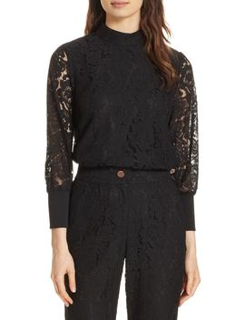 Dilly Lace High Neck Blouse by Ted Baker London