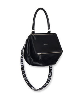 Pandora Small Smooth Leather Crossbody Bag With Logo Web Strap by Givenchy