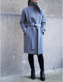 Grey Lined Coat/Cashmere Wool Coat/Winter Coat /Belted Coat/Xxl Coat/Masculine Coat/Symmetrical Coat/Autumn Winter Coat/Warm Coat/ F1661 by Etsy