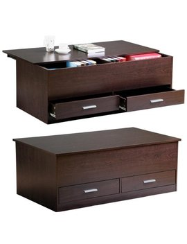 Yaheetech Slide Top Trunk Coffee Table With Storage Box & 2 Drawers, Espresso Finish by Yaheetech