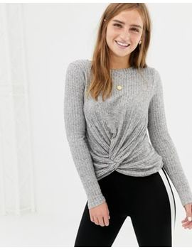 New Look Twist Front Top In Gray by New Look