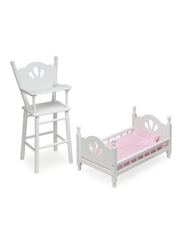English Country Doll High Chair And Bed Set With Chevron Bedding   White/Pink by Badger Basket