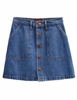 Persun Women's Faux Suedette Button Closure Plain A Line Mini Skirt by Persun