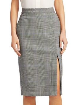Plaid Zip Pencil Skirt by Theory