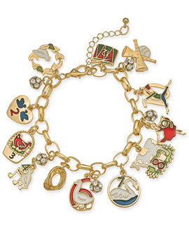 Holiday Lane Gold Tone Crystal, Stone & Epoxy Twelve Days Of Christmas Charm Bracelet, Created For Macy's by Charter Club