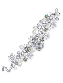 Holiday Lane Silver Tone Crystal & Imitation Pearl Snowflake Watch Charm Bracelet, Created For Macy's by Charter Club