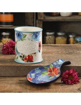 The Pioneer Woman Floral 2 Piece Mini Utensil Crock And Spoon Rest by The Pioneer Woman