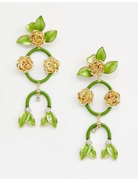 Asos Design Statement Earrings In Pretty Floral Drops In Gold by Asos Design
