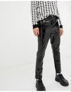 Asos Design Tapered Joggers In Black Vinyl by Asos Design