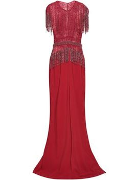 Fringed Silk Blend Tulle And Crepe Gown by Zuhair Murad