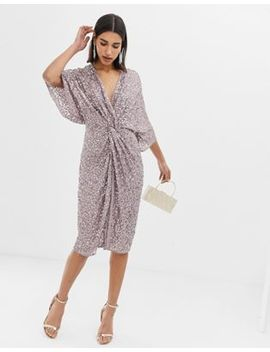Asos Design Scatter Sequin Knot Front Kimono Midi Dress by Asos Design