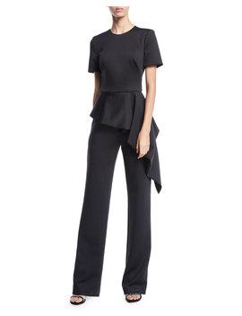 short-sleeve-asymmetric-peplum-jumpsuit by black-halo
