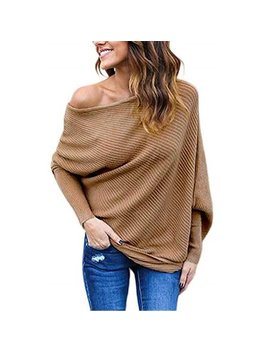 Women Solid Long Sleeve One Shoulder Sweater Loose Batwing Pullover by Sy Sea