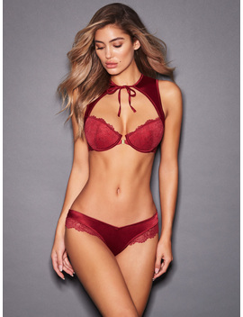Micaela Lace Tie Up Push Up Bra Set by Frederick's Of Hollywood