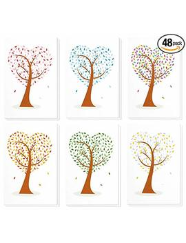 48 Pack All Occasion Assorted Blank Note Cards Greeting Cards Bulk Box Set   6 Colorful Heart... by Best Paper Greetings