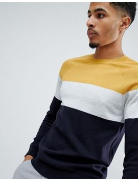 New Look Colour Block Jumper In Mustard by New Look